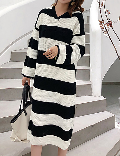 55376089659 Women s Daily Elegant Maxi Loose Sweater Dress - Striped   Color Block  Brown Black One-Size 6972063 2019 –  32.99