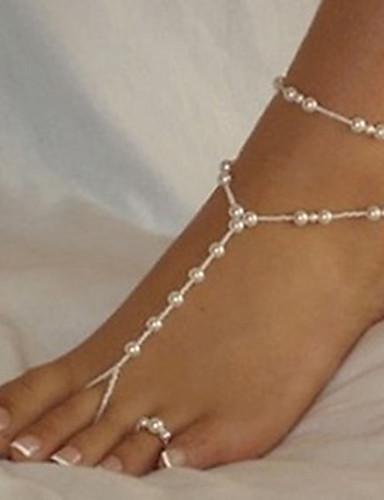 preiswerte Party Zubehör-Damen Barfußsandalen Glasperlen Romantisch Künstliche Perle Fusskettchen Schmuck Weiß Für Strasse Ausgehen