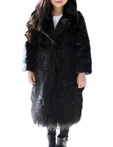 d3f7a8113 Kids Girls' Basic Solid Colored Long Sleeve Faux Fur Jacket & Coat Black  6947353 2019 – $49.87