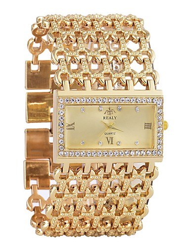 cheap Bracelet Watches-Women's Bracelet Watch Diamond Watch Gold Watch Quartz Silver / Gold Calendar / date / day Chronograph Hollow Engraving Analog Ladies Luxury Fashion - Gold Silver One Year Battery Life