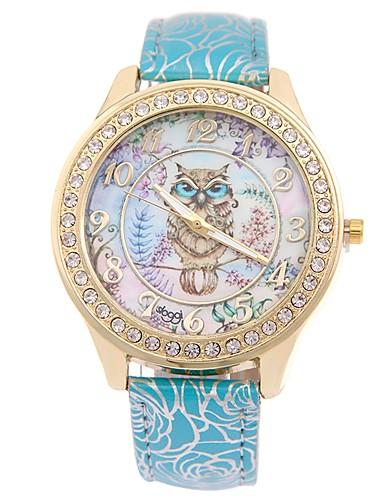 preiswerte Blumen Uhr-Damen Uhr Armbanduhr Quartz Gestepptes PU - Kunstleder Schwarz / Blau / Rot Neues Design Armbanduhren für den Alltag Imitation Diamant Analog damas Modisch Elegant Blau Rosa Hellblau / Ein Jahr