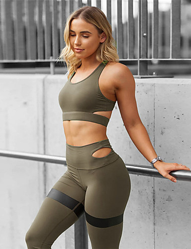 cheap Yoga Clothing-Women's Yoga Suit 2 Piece Padded Black Army Green Blue Mesh Fitness Gym Workout Running High Waist Tights Leggings Bra Top Sport Activewear Tummy Control Butt Lift Freedom High Elasticity Slim