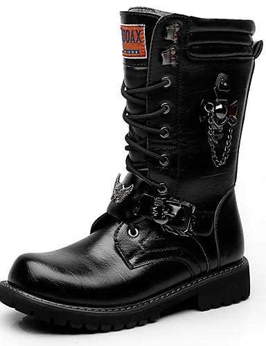 billige Shoes & Bags Must-have-Herre Fashion Boots Syntetisk Høst vinter Fritid / Britisk Støvler Hold Varm Støvletter Svart / Fest / aften / Fest / aften / Combat-boots