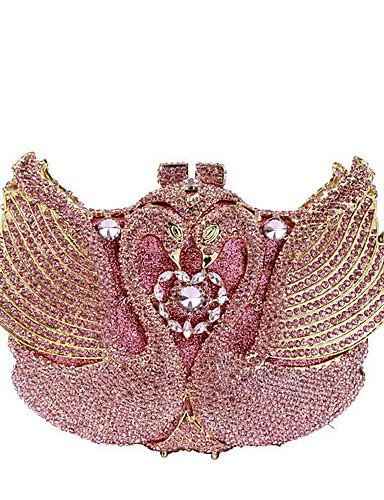 billige Shoes & Bags Must-have-Dame Krystalldetaljer / Uthult Legering Aftenveske Rhinestone Crystal Evening Bags Helfarge Rosa / Høst vinter