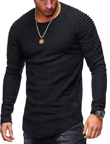 levne Pánská tílka-Pánské - Jednobarevné Základní Tričko Kulatý Černá / Dlouhý rukáv