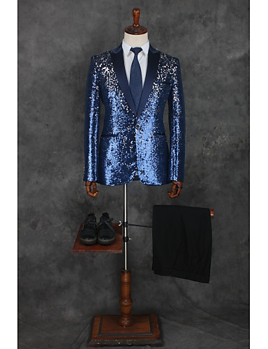 Patterned Kroj po mjeri Poliester Odijelo - Stepenasti Droit 1 bouton / odijela