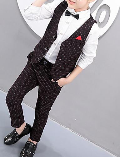 Kids Boys' Basic Polka Dot Sleeveless Cotton Clothing Set White