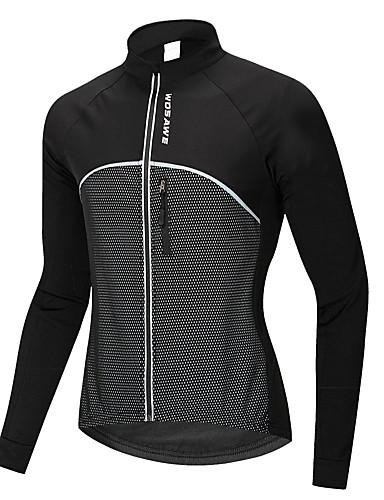povoljno Biciklističke majice-WOSAWE Muškarci Žene Dugih rukava Biciklistička jakna Crn Bicikl Sportska majica Biciklistička majica Brdski biciklizam biciklom na cesti Ugrijati Vodootporno Vjetronepropusnost Sportski Zima 100
