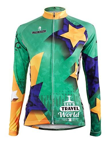 povoljno Odjeća za vožnju biciklom-ILPALADINO Žene Dugih rukava Biciklistička majica Forest Green Csillag Bicikl Biciklistička majica Majice Brdski biciklizam biciklom na cesti Ugrijati Podstava od flisa Ultraviolet Resistant Sportski
