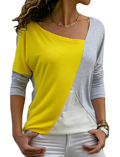 billige T-skjorter til damer-Løstsittende T-skjorte Dame - Fargeblokk Blå