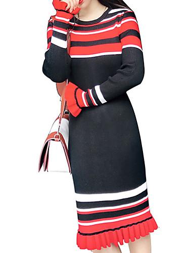 Damen Grundlegend Schlank Strickware Kleid Gestreift ...