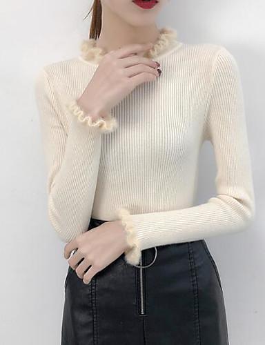 billige Dametopper-Dame Daglig Ensfarget Langermet Skinny Normal Pullover Genserjumper Bomull Svart / Hvit / Rosa En Størrelse