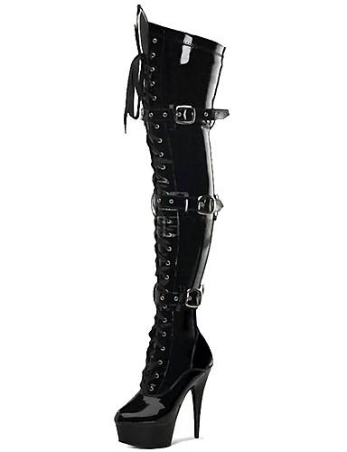 preiswerte Damen Stiefel-Damen Stiefel Over-the-Knie Stiefel Stöckelabsatz Runde Zehe Schnalle PU Übers Knie Klassisch Winter Schwarz / Grau / Party & Festivität / Fashion Boots / EU40