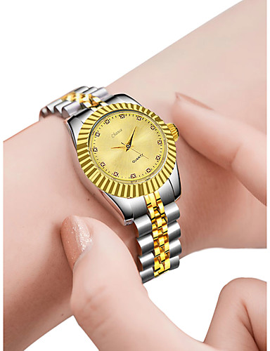 Žene Luxury Watches Ručni satovi s mehanizmom za navijanje Zlatni sat Kvarc Nehrđajući čelik Srebro 30 m Kreativan New Design Analogni-digitalni dame Moda Elegantno - Zlato Obala Crn