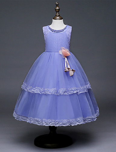 642711c8403 Princess Tea Length Flower Girl Dress - Satin   Tulle Sleeveless Jewel Neck  with Beading   Appliques   Belt by LAN TING Express 7241640 2019 –  44.99