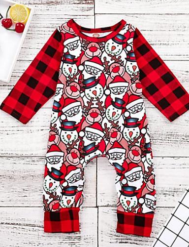 preiswerte Mode für Jungs-Baby Jungen Grundlegend Weihnachten Druck / Weihnachten Langarm Baumwolle Einzelteil Rote