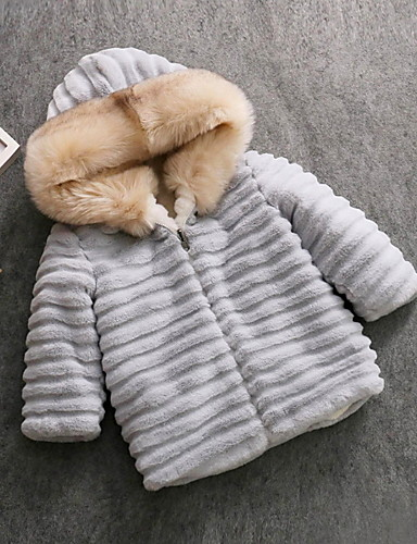 be9d231b8 [$43.46] Kids Girls' Active Daily Rabbit Solid Colored Fur Trim Long Sleeve  Regular Faux Fur Jacket & Coat Blushing Pink