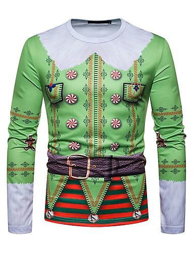 levne Vánoce-Pánské - Geometrický Vánoce Tričko Kulatý Trávová zelená / Dlouhý rukáv