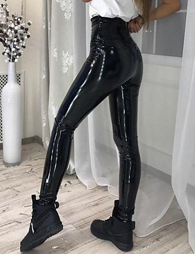 halpa Naisten alaosat-Naisten Perus Pluskoko Päivittäin Ohut Chinos housut Housut - Yhtenäinen PU Musta Rubiini XL XXL XXXL