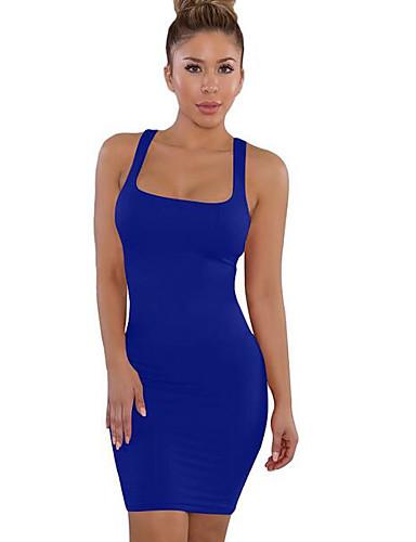 preiswerte Sexy Kleider-Damen Etuikleid Kleid Solide Übers Knie Gurt