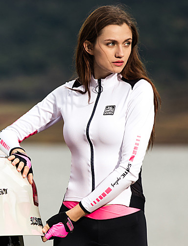 cheap Cycling Jerseys-SANTIC Women's Long Sleeve Cycling Jersey Winter Polyester White+Pink Solid Color Bike Jacket Jersey Top Mountain Bike MTB Road Bike Cycling Thermal Warm Quick Dry Ultraviolet Resistant Sports
