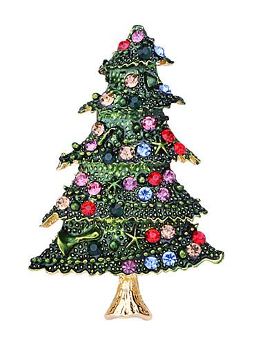 preiswerte Weihnachts Party-Damen Kubikzirkonia Broschen Klassisch Santa Anzüge Weihnachtsbaum Klassisch Zeichentrick nette Art Brosche Schmuck Grün Für Weihnachten Alltag