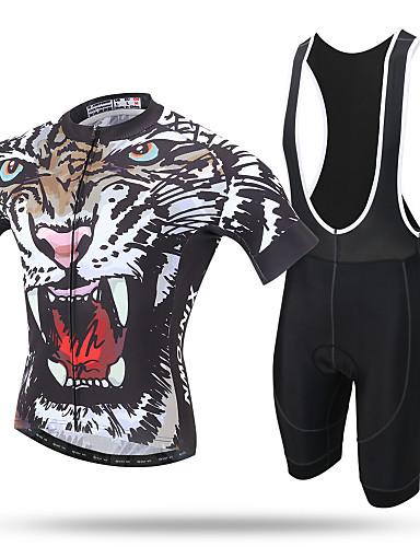 povoljno Odjeća za vožnju biciklom-XINTOWN Muškarci Kratkih rukava Biciklistička majica s kratkim tregericama Bijela Leopard Bicikl Biciklistička majica Bib Hulahopke Sportska odijela Prozračnost Pad 3D Quick dry Reflektirajuće trake