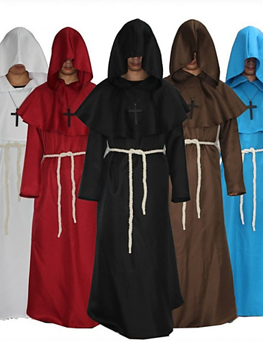cheap Men's & Women's Halloween Costumes-Pastor Cosplay Costume Cloak Masquerade Adults' Men's One Piece Halloween Masquerade Festival / Holiday Woolen White / Black / Red Men's Easy Carnival Costumes Simple Solid Colored / Leotard / Onesie