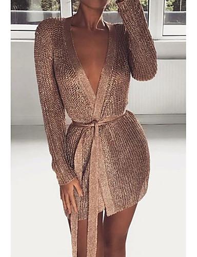 9bd7760f711 Women s Daily Slim Sweater Dress Deep V Silver Pink M L XL   Sexy 6975783  2019 –  23.99