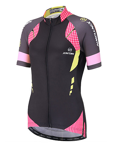cheap Massive Clearance Sale-XINTOWN Women's Short Sleeve Cycling Jersey Black / Pink Polka Dot Plus Size Bike Top Mountain Bike MTB Road Bike Cycling Breathable Quick Dry Back Pocket Sports Clothing Apparel / Stretchy