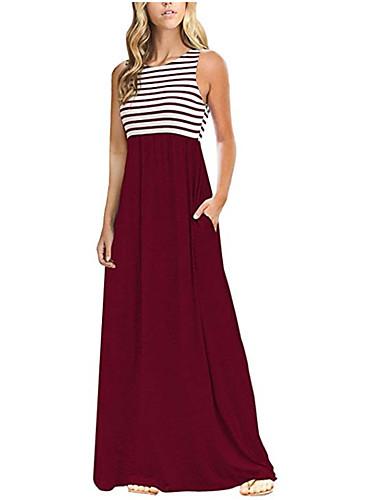 levne Maxi šaty-Dámské Základní Bavlna Pouzdro Šaty - Proužky, Tisk Maxi Vysoký pas