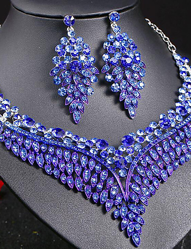 povoljno Ženski modni dodaci-Žene Sapphire Kristal Izjava Ogrlice Naušnica Svadbeni nakit Setovi Leaf Shape dame Stilski Luksuz Jedinstven dizajn Stil višenja Elegantno Umjetno drago kamenje Naušnice Jewelry Obala / Srebro
