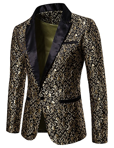 cheap Party Night-Men's Party / Club Luxury / Vintage Spring / Fall / Winter Regular Blazer, Floral Notch Lapel Long Sleeve Polyester Jacquard Gold / White / Black