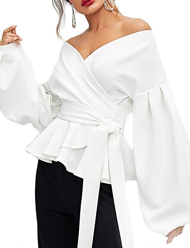 billige Bluser-V-hals Skjorte Dame - Ensfarget, Blondér Elegant Svart