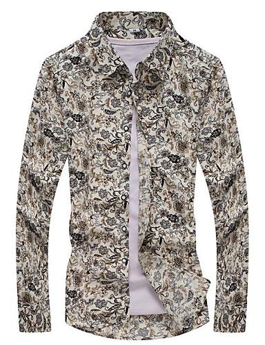 levne Pánské košile-Pánské - Etno Vintage Větší velikosti Košile, Tisk Klasický límeček Štíhlý Béžová / Dlouhý rukáv / Jaro / Podzim