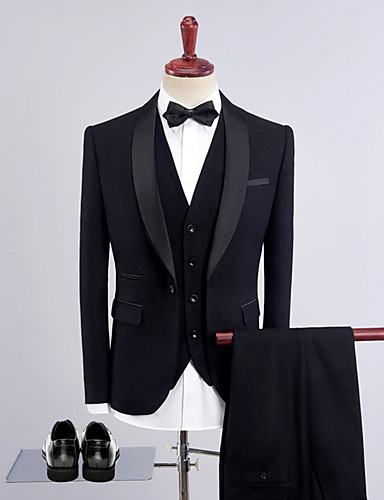cheap Tuxedos & Suits-Tuxedos Tailored Fit Shawl Collar Single Breasted One-button Wool / Polyester Solid Colored