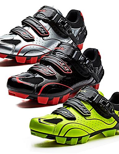 billige Sykling-SANTIC Mountain Bike-sko Nylon Pustende Anti-Skli Ultra Lett (UL) Sykling Svart / Hvit Svart / Rød lysende grønne Herre Sykkelsko / ånd bare Blanding / Krok og øye
