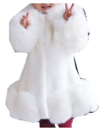 voordelige Uitverkoop-Kinderen Meisjes Standaard Effen Lange mouw Imitatiebont Kostuum & Blazer Zwart