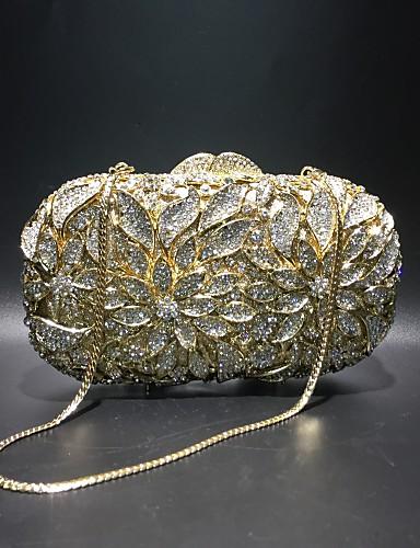 billige Shoes & Bags Must-have-Dame Krystalldetaljer / Uthult Legering Aftenveske Rhinestone Crystal Evening Bags Helfarge Gull / Høst vinter