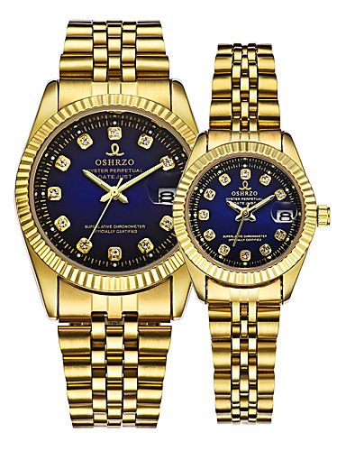 preiswerte Paar Uhren-Paar Uhr Armbanduhr Goldene Uhr Quartz Matching Sein und ihr Legierung Unedles Metall Gold 30 m Kalender Kreativ Analog Luxus Elegant Gold