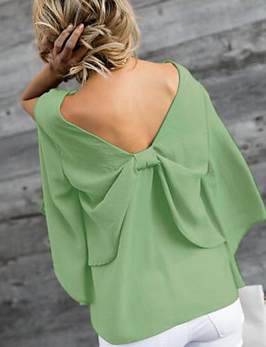 billige Dametopper-V-hals Bluse Dame - Ensfarget Gul