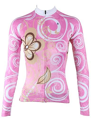 povoljno Biciklističke majice-ILPALADINO Žene Dugih rukava Biciklistička majica Pink Cvjetni / Botanički Bicikl Biciklistička majica Majice Brdski biciklizam biciklom na cesti Ugrijati Podstava od flisa Ultraviolet Resistant