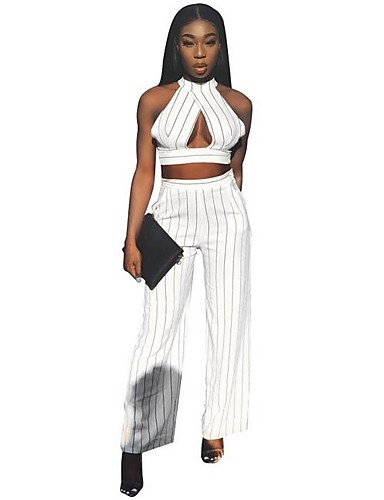 38e4a4b45255 Women s Daily   Holiday Street chic   Sophisticated White Wide Leg Romper