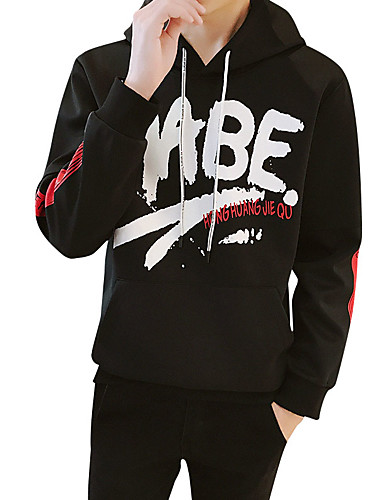 5fd20995130a Men s Sports Active   Street chic Long Sleeve Hoodie - Letter Black    White