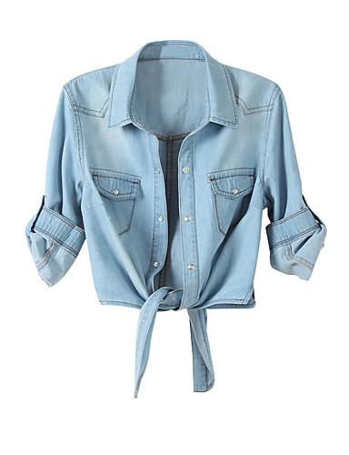 billige Skjorter til damer-Bomull Skjortekrage Skjorte Dame - Ensfarget Blå