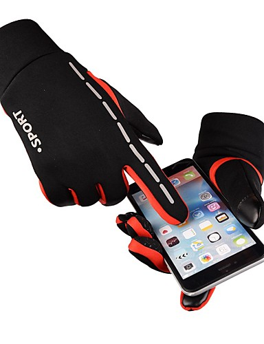 preiswerte Radhandschuhe-Winter Fahrradhandschuhe Mountainbike-Handschuhe Bergradfahren Touchscreen Windundurchlässig Gefüttert Rutschfest Vollfinger Sporthandschuhe Silikon Gel Frottee Schwarz Grau Orange für Erwachsene