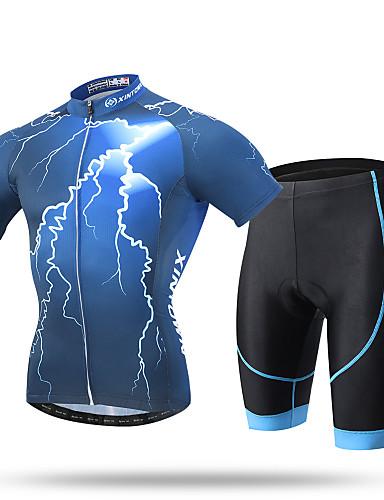 povoljno Odjeća za vožnju biciklom-XINTOWN Muškarci Kratkih rukava Biciklistička majica s kratkim hlačama Zelen Plava Pink Munja Bicikl Kratke hlače Biciklistička majica Sportska odijela Prozračnost Pad 3D Quick dry Ultraviolet