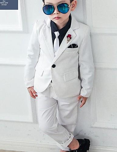 preiswerte Mode für Jungs-Kinder Jungen Grundlegend Druck Langarm Baumwolle Kleidungs Set Blau