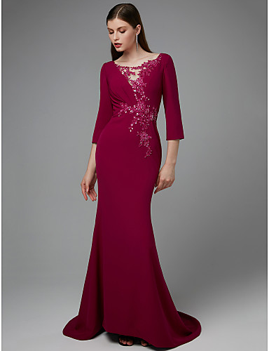185406ab176 Mermaid   Trumpet Jewel Neck Sweep   Brush Train Chiffon   Lace Formal  Evening Dress with Appliques   Lace Insert by TS Couture® 6785136 2019 –   149.99