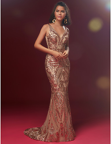 2a82f6a56e4 Mermaid   Trumpet V Neck Sweep   Brush Train Sequined Sparkle   Shine Formal  Evening Dress
